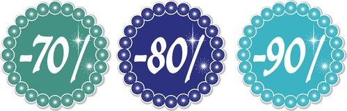 Winter discount 70-90%. 70-90% price tags of snowflakes, vector illustration Stock Image