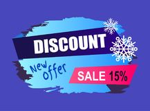 Winter Discount New Offer Vector Illustration. Winter discount new offer promotion -15 isolated on dark blue background. Vector illustration with sign of sale Royalty Free Illustration