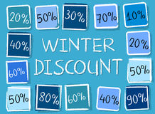 Winter discount and percentages in squares - retro blue label Stock Photos