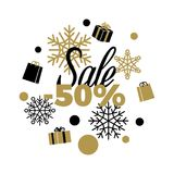 Sale Winter Discount. -50 Sale Vector Illustration. Winter discount 50 Sale sign on white background with black and gold present boxes, shopping bags, different Stock Images