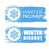 Winter discount with snowflake on blue drawn banners Royalty Free Stock Photo