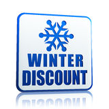 Winter discount white banner with snowflake symbol Stock Photo
