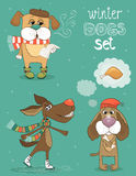 Winter dog. Hipster set of cute winter fashion dogs vector illustration royalty free illustration