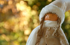 Winter doll with bokeh background  soft focus,lens blur Stock Photo
