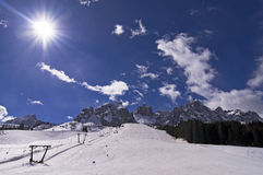 Winter in Dolomites Mountain Royalty Free Stock Photography