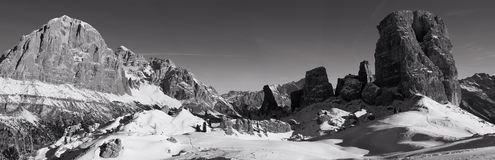 Winter Dolomites Panorama Mono Royalty Free Stock Photo