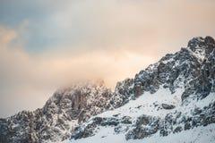Winter Dolomites at sunrise Stock Photos