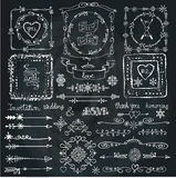 Winter doodle decor set.Frame,Border,ribbon.Hand Stock Photography