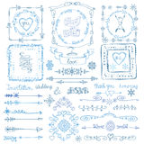 Winter doodle decor set.Frame,Border,ribbon.Hand Royalty Free Stock Photography