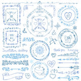 Winter doodle decor set.Frame,ribbon,Border.Hand Stock Image