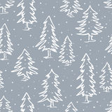 Winter doodle pine fir trees seamless pattern Royalty Free Stock Image