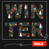Winter doodle sale card. Royalty Free Stock Image