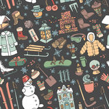 Winter doodle seamless pattern.Colored elements Royalty Free Stock Photography