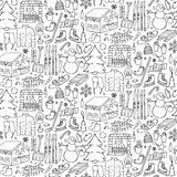 Winter doodle seamless pattern Royalty Free Stock Photo
