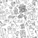 Winter doodle seamless pattern.Linear elements Stock Image