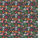 Winter doodle seamless pattern Stock Images