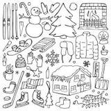 Winter doodle set Stock Image