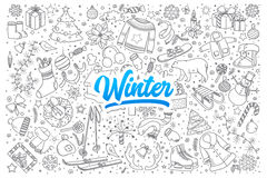 Winter doodle set with lettering vector illustration