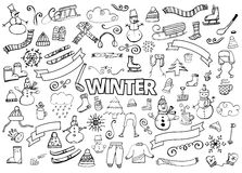 Winter doodles collection. Design elements. Snowman, Snowflakes, Skies, scarf, hot drinks, Coffee, Late. Winter doodles collection. Stylish design elements Royalty Free Stock Photos