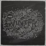 Winter doodles elements halkboard background Stock Photo