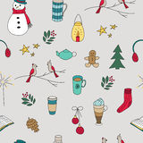 Winter doodles hand drawn seamless pattern Stock Photos