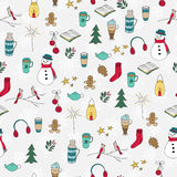 Winter doodles hand drawn seamless pattern Royalty Free Stock Photography