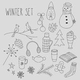 Winter doodles hand drawn set Royalty Free Stock Photos