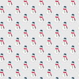 Winter doodles hand drawn snowman seamless pattern Royalty Free Stock Image
