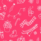 Winter doodles seamless pattern Stock Image