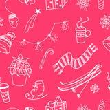 Winter doodles seamless pattern Stock Image