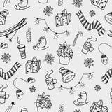 Winter doodles seamless pattern Stock Photos