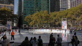 Winter-Dorf Bryant Park New York Stockfoto