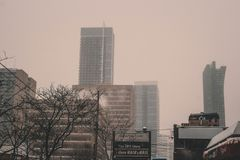 Winter in the downtown. Toronto stock photos