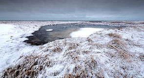 Winter dramatic landscape with frozen lake in Iceland Royalty Free Stock Photo