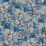 Winter drawing houses seamless pattern Stock Photos