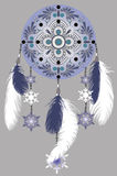 Winter dream catcher. Drawing blue Dreamcatcher with feathers and snowflakes on a gray background Stock Image