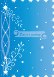 Winter dreams 2-03. Vector holiday background. Card template with lines, stars and plants on a blue background royalty free illustration