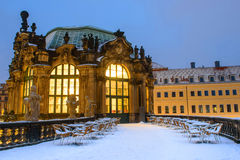 Winter Dresden nach Sonnenuntergang Lizenzfreie Stockfotos
