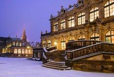 Winter Dresden nach Sonnenuntergang Stockfotografie
