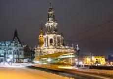 Winter Dresden nach Sonnenuntergang Lizenzfreies Stockbild