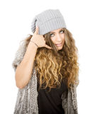 Winter dress for a call center girl Royalty Free Stock Images
