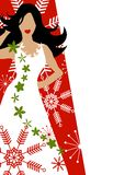 Winter Dress Fashion Model Red. A clip art illustration of a dark haired fashion model wearing a white gown surrounded by snowflakes and floral decoratives in Royalty Free Stock Photography