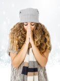 Winter dress for a nice girl freezing Royalty Free Stock Photography