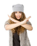 Winter dress for a nice model factor x sign Royalty Free Stock Photography