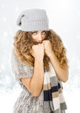 Winter dress for a nice model freezing Stock Images