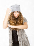 Winter dress for a rudeness girl. Person emotions and expressions portrait Stock Image