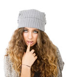 Winter dress for a seductive girl Stock Images