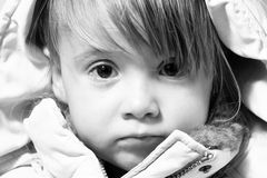 Winter-dressed baby-girl potrait Stock Photography