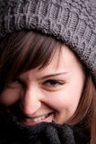 Winter dressed pretty woman smiling Royalty Free Stock Images