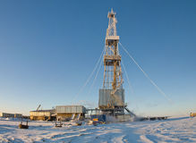 Winter Drilling Rig Stock Photography
